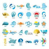 Big collection of vector logos sea  — Stock Vector