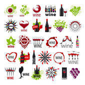 Biggest collection of vector logos wine — Stock Vector