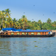 Landscape with houseboat in kerala backwaters, India, kerala — Stock Photo