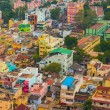 Colorful homes in crowded Indian city Trichy, Tamil Nadu — Stock Photo
