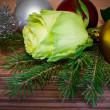 Stock Photo: New Year Card Design with rose, fir-tree and christmas balls. Ch