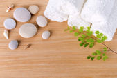 Spa concept with stacked of stone, shell, branch and towel — Stock Photo