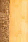 Bamboo texture with hessian, rural style — Stock Photo