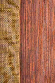 Texture rosewood with hessian , rural style of wooden background — Stock Photo