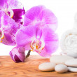 Spa still life with stone, lilac orchid and towel on root wood b — Stock Photo