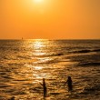 Silhouettes of two girls at sunset, swimming in the sea — Stock Photo #40122583