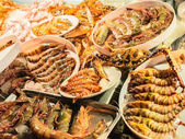 Fresh-caught seafood, different types of shrimps — Stock Photo