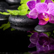 Beautiful spa setting of stripped lilac orchid (phalaenopsis), b — Stock Photo #46639843