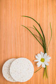 Spa set of sponge with chamomile on wooden background — Stock Photo