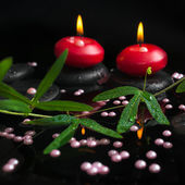 Spa still life of passiflora branch, pearl beads and red candles — Stock Photo