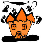 Haunted halloween witch house — Stock Vector