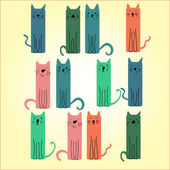 Many colored cat on a light background — Stock Vector