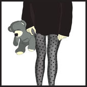 Girls in tights with gray bear in hand — Stock Vector