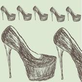 Illustration skiss av skor — Stockvektor