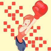 Vector beautiful girl in boxing gloves — Stock Vector