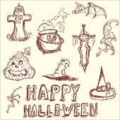 Vector illustration. The elements of Halloween. — Stock Vector