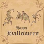 Vector illustration. Three different wing skeletons. happy Halloween — Stock Vector