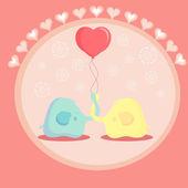 Cute elephant in love. vector illustration — Stock Vector
