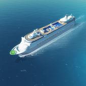 Navio com heliponto e piscinas navegando o mar de cruzeiro de luxo branco — Foto Stock