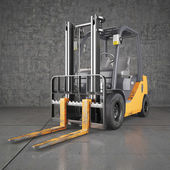 Forklift truck on industrial dirty wall background — Stock Photo