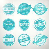 Collection of retro vintage turquoise design labels — Stock Vector
