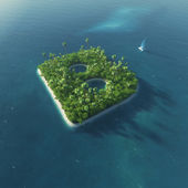 Island Alphabet. Paradise tropical island in the form of letter B — Stock Photo