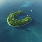Ada alfabe. c harfi şeklinde cennet tropikal adası — Stok fotoğraf