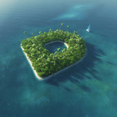 Island Alphabet. Paradise tropical island in the form of letter D — 图库照片
