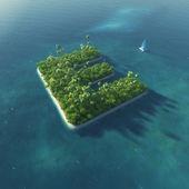 Ada alfabe. e harfi şeklinde cennet tropikal adası — Stok fotoğraf