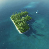 Island Alphabet. Paradise tropical island in the form of letter F — 图库照片