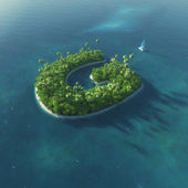 Island Alphabet. Paradise tropical island in the form of letter G — 图库照片