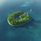 Ada alfabe. mektup g şeklinde cennet tropikal adası — Stok fotoğraf
