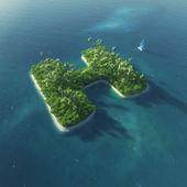 Ada alfabe. h harfi şeklinde cennet tropikal adası — Stok fotoğraf