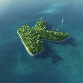 Alfabeto da ilha. ilha tropical paradisíaca, sob a forma de letra k — Foto Stock