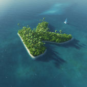 Island Alphabet. Paradise tropical island in the form of letter K — Stok fotoğraf