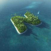 Alfabeto da ilha. ilha tropical paradisíaca, sob a forma de letra n — Foto Stock