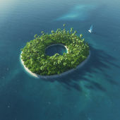 Alphabet de l'île. île tropicale paradisiaque sous la forme de la lettre o — Photo