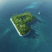 Ada alfabe. p harfi şeklinde cennet tropikal adası — Stok fotoğraf