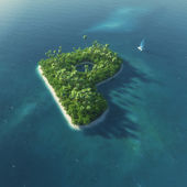 Alfabeto da ilha. ilha tropical paradisíaca, sob a forma da letra p — Foto Stock