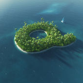 Island Alphabet. Paradise tropical island in the form of letter Q — Stock Photo