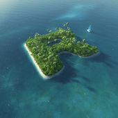 Island Alphabet. Paradise tropical island in the form of letter R — Stok fotoğraf