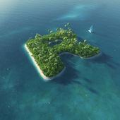 Ada alfabe. r harfi şeklinde cennet tropikal adası — Stok fotoğraf