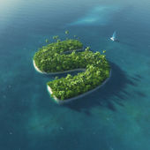 Island Alphabet. Paradise tropical island in the form of letter S — Stockfoto