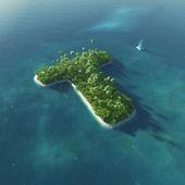 島のアルファベット。t の文字の形で楽園熱帯の島 — ストック写真