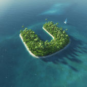 Island Alphabet. Paradise tropical island in the form of letter U — Stock Photo