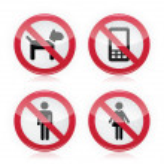 No dogs, No mobile phones, No men, No women warning sign - road sign. — Stock Vector #11391429