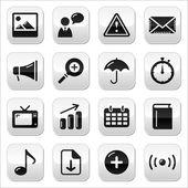 Set di pulsanti sito internet sqaure lucido — Vettoriale Stock