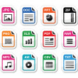 File type icons as labels set - zip, pdf, jpg, doc - Stock Vector