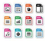 Type pictogrammen als etiketten set - bestand, zip, pdf, jpg, doc — Stockvector