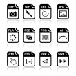File type black icons - graphic and web design, web development — Stock vektor